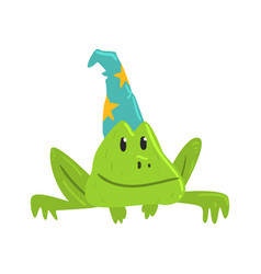 Cute cartoon frog in blue carnival hat with yellow vector