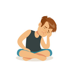 frustrated boy sitting on the floor in lotus vector image