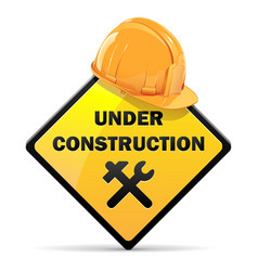 Under construction sign with helmet vector