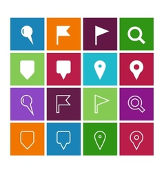 GPS and Navigation icons on color background vector image