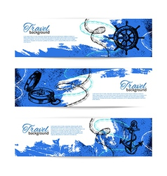 Set of travel vintage banners vector