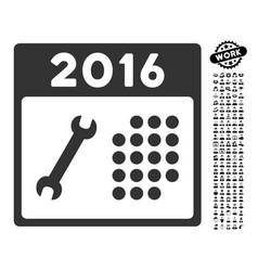 2016 service calendar icon with job bonus vector