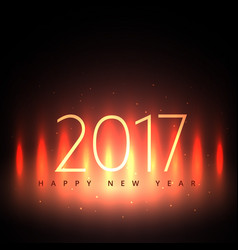 2017 happy new year design with glowing lights vector image