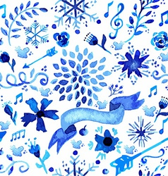 Hand drawn watercolor flower pattern vector image
