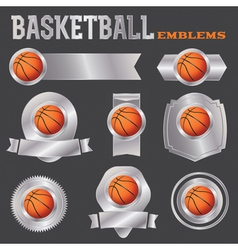 Basketball Metal Banners and Badges vector image