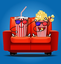 Popcorn and soft drink wear 3d glasses vector