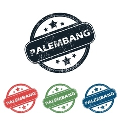 Round palembang city stamp set vector