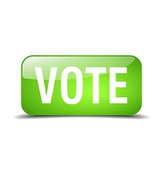 Vote green square 3d realistic isolated web button vector