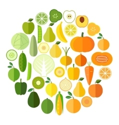 Fruits and vegetables icons collection vector
