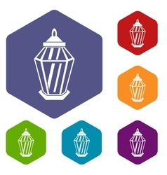 Arabic lantern icons set vector image