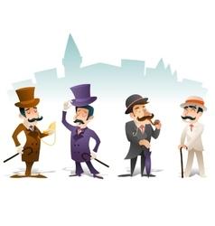 Business Victorian Gentleman Meeting Cartoon vector image vector image
