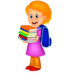 Cartoon girl bring pile of books vector image