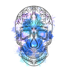 Contour of a sugar skull with vector