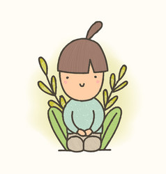 Cute cartoon sitting girl vector