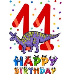 eleventh birthday cartoon design vector image vector image