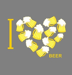 I love beer symbol heart of steins of beer vector