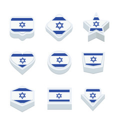 Israel flags icons and button set nine styles vector