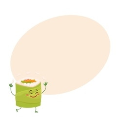 Japanese avocado roll character juggling with rice vector