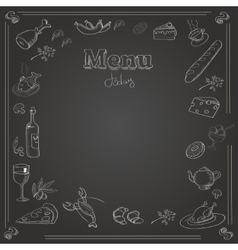 Menu design with a chalk board texture vector image