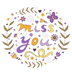 Miss you card vector