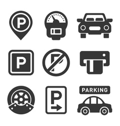 Parking Icon Set on White Background vector image vector image