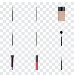 Realistic day creme eye paintbrush cosmetic vector