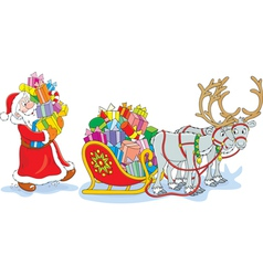 Santa loads his sledge with gifts vector