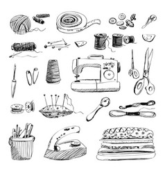 Set of hand drawn sewing and embroidery tools vector