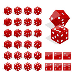 set of isometric dice combination red poker cubes vector image vector image
