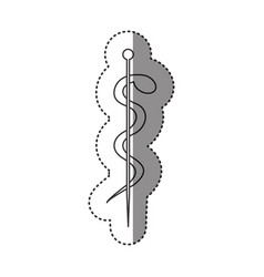 Sticker of monochrome silhouette of health symbol vector