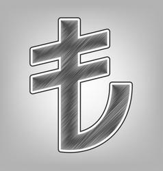 Turkiey lira sign pencil sketch imitation vector