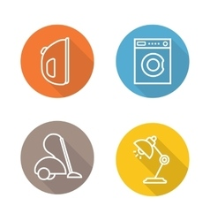 White goods flat linear icons set vector