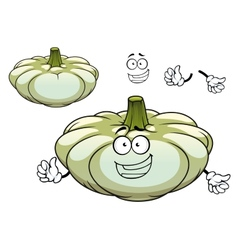 White pattypan squash vegetable cartoon character vector image