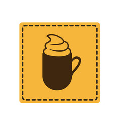 yellow emblem cuppa coffee with cream icon vector image vector image