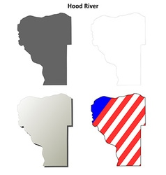 Hood river map icon set vector