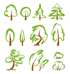 Set of sketchy stylized trees vector