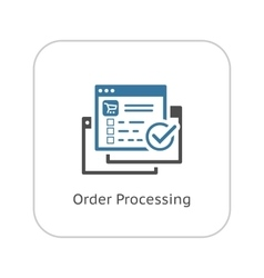 Order processing icon flat design vector
