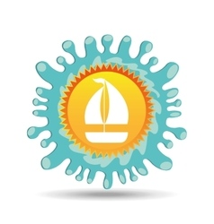 Sailing summer vacation sun splashes label vector