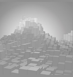 Abstract landscape with gray cubes vector