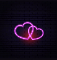 Two hearts neon lamp abstract on a brick vector
