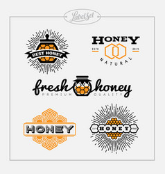 Honey bee label set vector