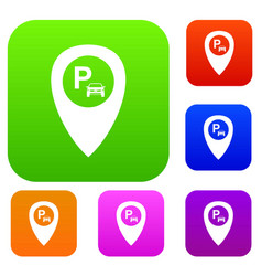 map pointer with car parking set collection vector image