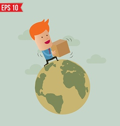 Business man deliver box - - eps10 vector
