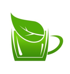Cup of green bio beverage vector