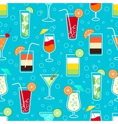 Seamless pattern with alcohol cocktail drinks vector