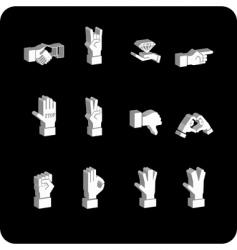 hands icon set vector image
