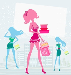 Fashion girls shopping vector