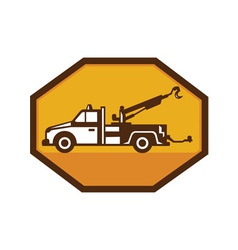 vintage tow wrecker truck side view retro vector image