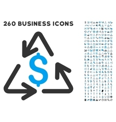 Recycling cost icon with flat set vector