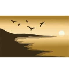 Sunset scenery in the beach vector image